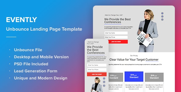 Evently - Responsive Unbounce Landing Page Template - Unbounce Landing Pages Marketing