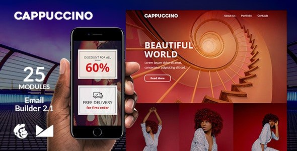 Cappuccino Responsive Email Template + Online Emailbuilder 2.1 - Newsletters Email Templates