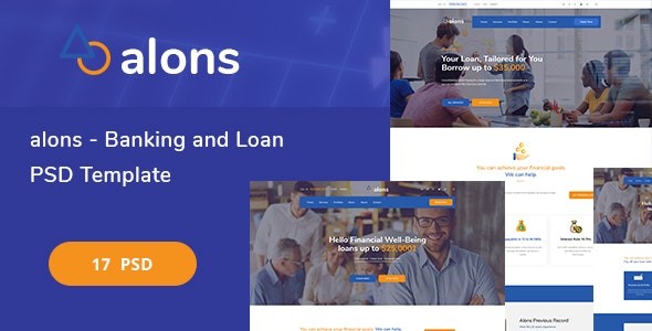 Alons - Banking and Loan PSD Template - Corporate Photoshop