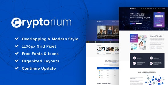 Cryptorium - ICO & Cryptocurrency Sketch Template - Business Corporate