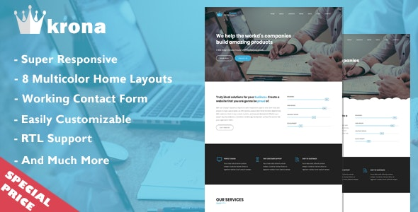 Blue Crown - One Page Parallax - Creative Site Templates