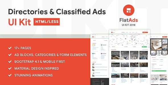 FlatAdsUI - Directories & Classified Ads HTML/LESS UI Kit - Corporate Site Templates