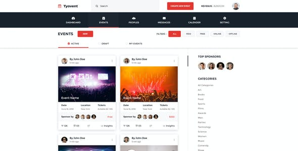 Tyovent - Event Management Dashboard Psd Template
