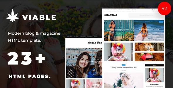 Viable - Modern Magazine & HTML Blog Template - Personal Site Templates