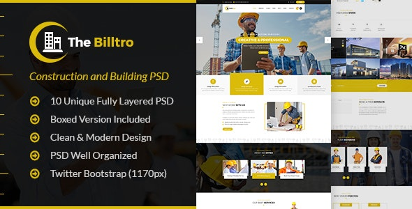 The Billtro - Construction PSD Template - Business Corporate