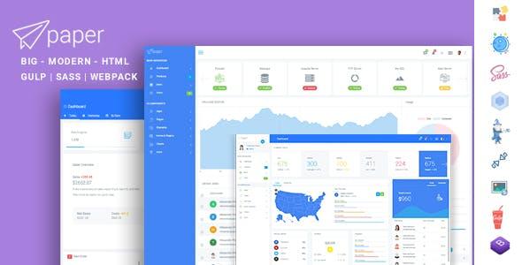 Paper Panel Multipurpose Admin Dashboard Bootstrap 4 Template
