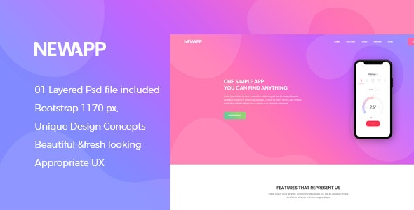 NewApp - Creative App Landing PSD Template - Software Technology