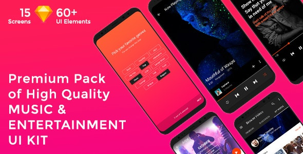 Musica - Music , Video & Entertainment UI KIT for Sketch - Entertainment Sketch