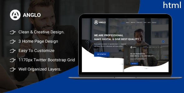Anglo - One Page  Business HTML Template - Business Corporate
