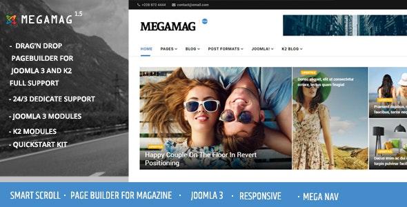 Megamag - K2 Magazine and Bloging for Joomla 3 Responsive Templates - News / Editorial Blog / Magazine