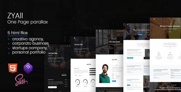 ZYAll - One Page Parallax - Creative Site Templates
