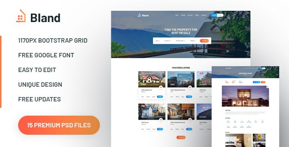 Bland - Real Estate PSD Template - Corporate Photoshop