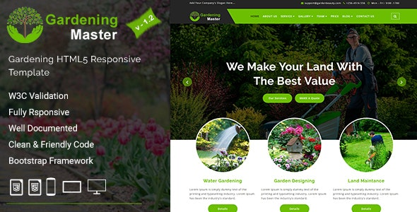 Gardening Master - Gardening and Landscaping HTML5 Responsive Template - Business Corporate