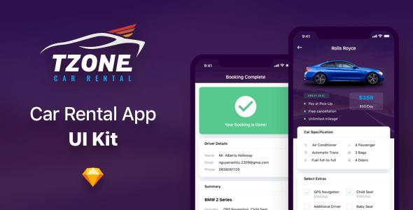 Tzone - Car Rental App UI Kit Sketch Template - Sketch UI Templates