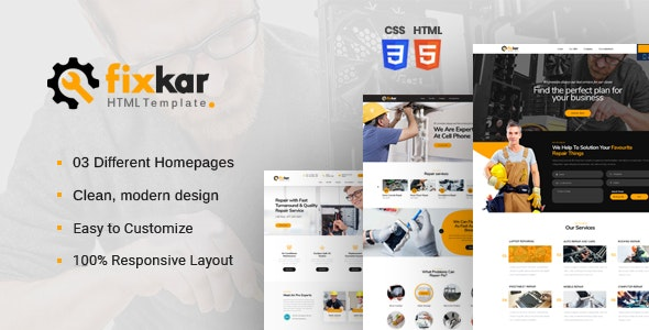 FixKar - HTML Template for Services and Repairing Business - Electronics Technology