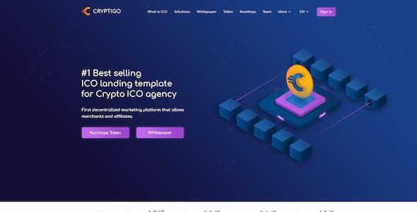 Cryptigo - Cryptocurrency Website Landing Page PSD Template