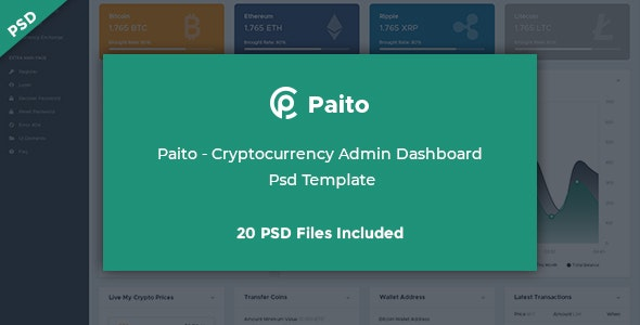Paito - Crypto-currency Admin Dashboard Psd Template - Photoshop UI Templates