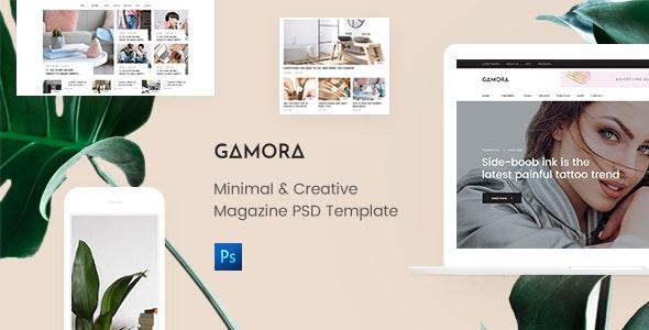GAMORA - Creative Magazine PSD Template - Photoshop UI Templates