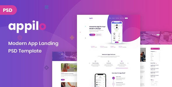 Appilo - App Landing PSD Template - Technology Photoshop
