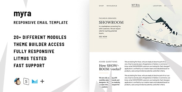 Myra  – Responsive HTML Email + StampReady, MailChimp & CampaignMonitor compatible files - Email Templates Marketing