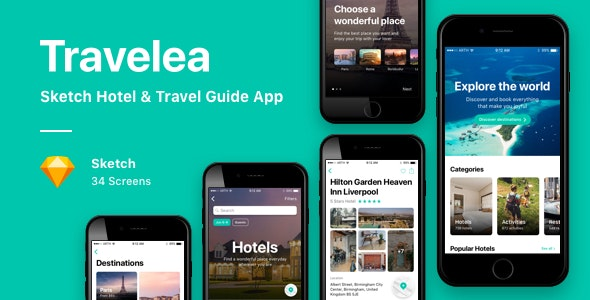 Travelea - Sketch Hotel & Travel Guide App - Sketch UI Templates
