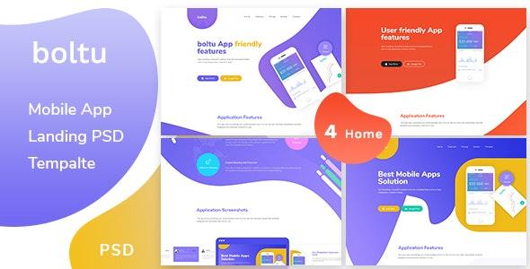 Boltu - Mobile App Landing PSD Template - Creative Photoshop