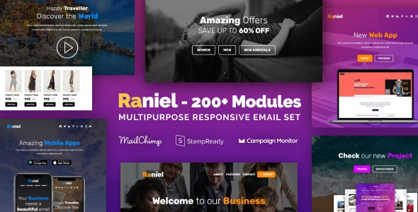 Raniel - Multipurpose Email Set with 200+ Modules + MailChimp Editor + StampReady + Online Builder - Newsletters Email Templates