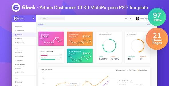 Gleek - Admin Dashboard UI Kit MultiPurpose PSD Template by