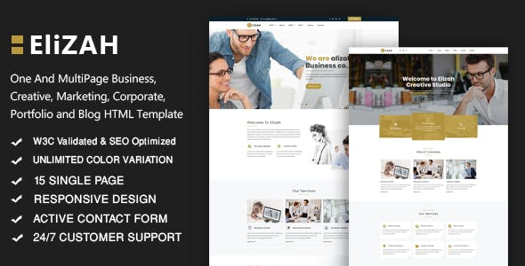 Elizah – Business And Corporate Responsive Website