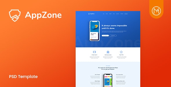 Appzone - App Landing PSD Template - Technology Photoshop