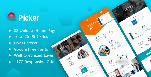 Picker - Startup and Agency PSD Template - Business Corporate