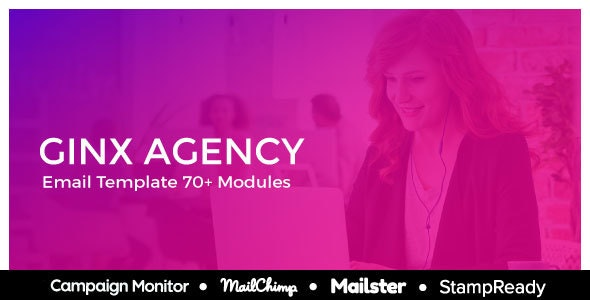 Ginx - Responsive Email for Agency 50+ Modules - StampReady Builder + Mailster & Mailchimp Editor - Newsletters Email Templates