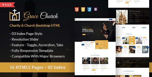 Grace Church - Charity Bootstrap HTML Template - Churches Nonprofit