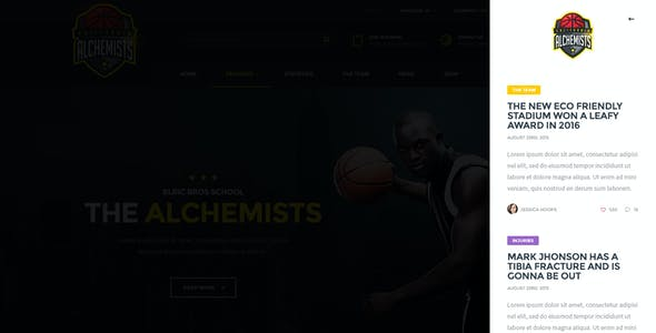 The Alchemists - Sports News PSD Template V4.0 + eSports & Gaming