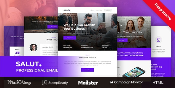 Salut - Professional Agency Email Newsletter Template With Stampready Builder + Mailchimp + Mailster - Newsletters Email Templates