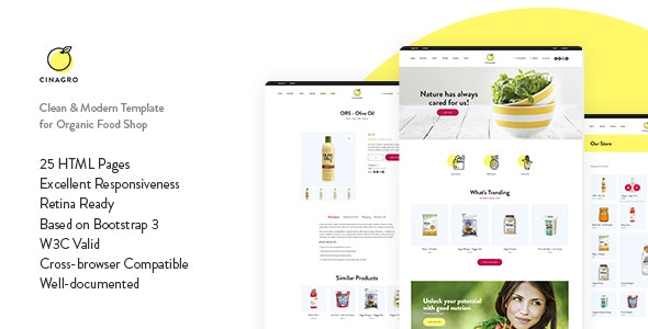 Cinagro - Organic Food Shop HTML Template - Food Retail