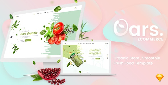 Oars - Organic Store , Smoothie , Fresh Food Sketch Template - Sketch UI Templates