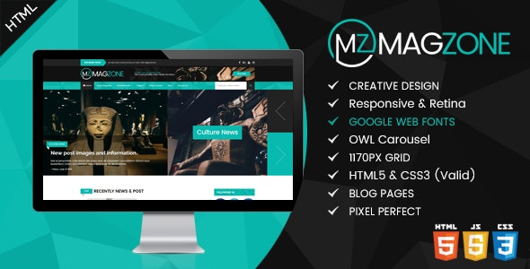 Magzone - Magazine, News and Business Blog HTML5 - Entertainment Site Templates