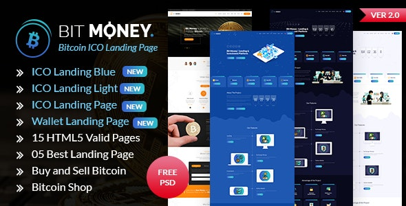 Bit Money - Bitcoin Cryptocurrency ICO Landing Page HTML Template - Business Corporate
