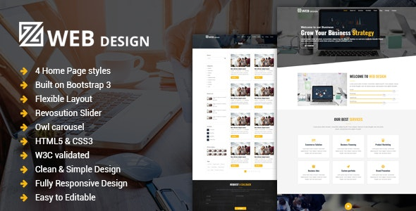 Web Design - Responsive One Page HTML Template - Corporate Landing Pages