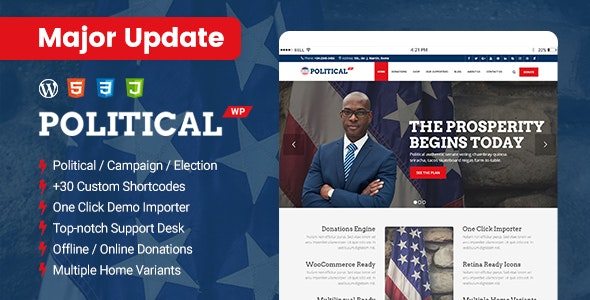 PoliticalWP - Multipurpose Political, Campaign, Election WordPress Theme - Political Nonprofit