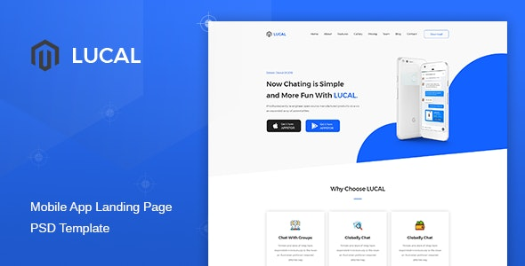 Lucal - Mobile App Landing Page PSD Template - Technology Photoshop