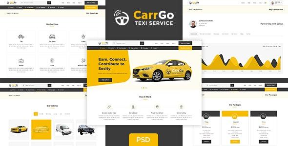 CarrGo - Ridesharing Taxi Psd Template - Photoshop UI Templates