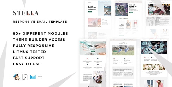 Stella – 80+ Responsive Modules + StampReady, MailChimp and CampaignMonitor compatible files - Email Templates Marketing