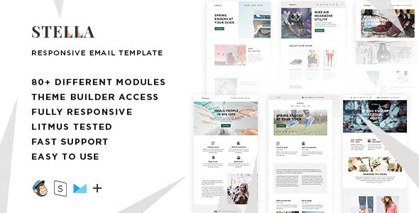 Stella – 80+ Responsive Modules + StampReady, MailChimp and CampaignMonitor compatible files