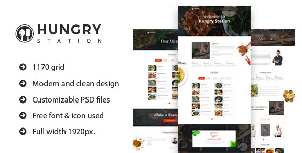 Hungry Station - Restaurant Website PSD Template - Food Retail