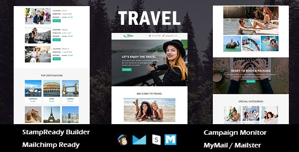 Travel - Responsive Email Template with Stamp Ready Builder Access - Newsletters Email Templates