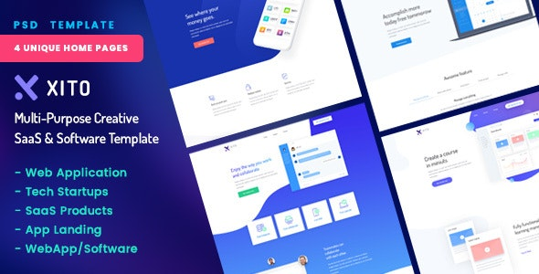 XITO - Multi-Purpose Creative SaaS & Software PSD Template - Software Technology