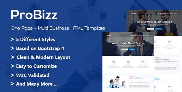 ProBizz - HTML Business Landing Page - Corporate Site Templates