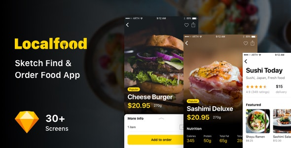 Localfood - Sketch Find & Order Food App - Sketch UI Templates